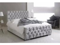 BUMPER OFFER NEW CREAM BLACK SILVER OR BEIGE COLOR CHESTERFIELD CRUSH VELVET DOUBLE OR KING SIZE BED