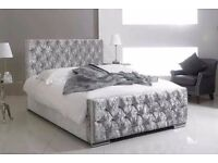 ❤SINGLE DOUBLE KING❤VOGUE❤ BRAND NEW CRUSHED VELVET DIAMONTE CHESTERFIELD BED WITH MATTRESS ❤C.O.D❤