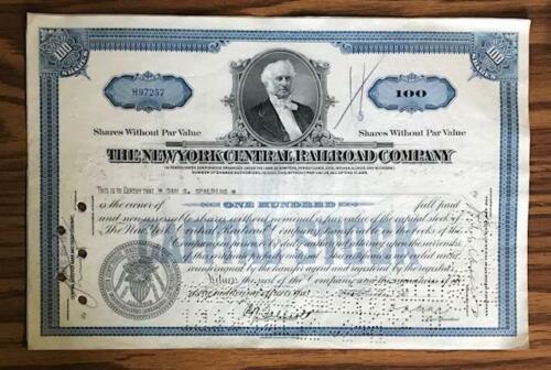 1937 NEW YORK CENTRAL RAILROAD COMPANY STOCK CERTIFICATE