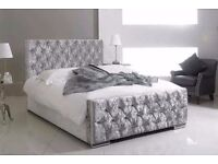 LUXURY AND COMFORT BRAND NEW DIAMOND TUFTED CHESTERFIELD CRUSHED VELVET BED AVAILABLE IN 4 COLOURS