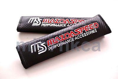 2x carbon fibre seat belt cover shoulder pads for MAZDASPEED mod Mazda (UK stock