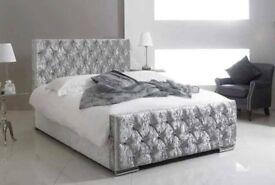 🔥🔥BLACK CHAMPAGNE & SILVER🔥 BRAND New Double/King Crush Velvet Diamond Chesterfield Bed +Mattress