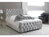 GRAB THE BEST-Crush velvet Chesterfield Bed Frame in Black Silver and Champagne Color