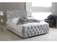 🎊🎁🎉Brand New Furniture🎊🎉-Crush velvet chesterfields bed frame with mattress - Same Day Delivery