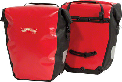 - New Ortlieb Back-Roller City Rear Pannier Pair Red Black Road Touring Bike