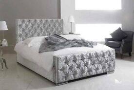 BRAND NEW DIAMOND STUDDED CRUSHED VELVET FABRIC BED FRAME WITH HIGH HEADBOARD IN DOUBLE KINGSIZE