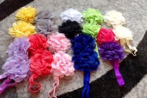 elastic baby headbands (bows and flowers)