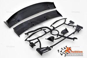 1/10 RC Car Body Adjustable GT Rear Spoiler & Side Mirror Set (Black)
