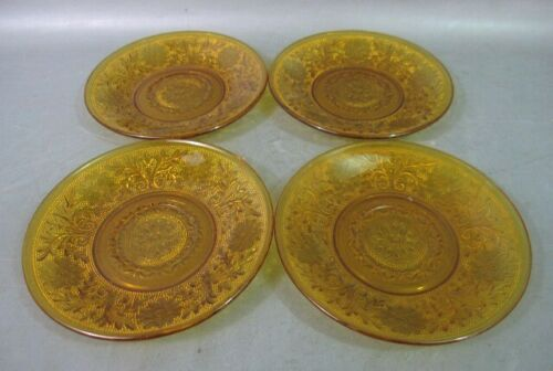 (4) Indiana Glass Tiara Amber Sandwich Pattern 8 3/8 inch Salad Plates - New!