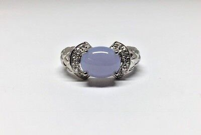 14k WG Criss Cross Padded Texture Blue Purple Grey Chalcedony Diamond Ring 6 1/2 14k Purple Cross