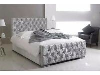 ►►►►Same Day Free Delivery►►►► Brand New Diamond Crushed Velvet Chesterfield Bed- Single Double King