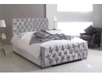 DOUBLE BED CHESTERFIELD SLEIGH STYLE UPHOLSTERED DESIGNER BED FRAME CRUSHED VELVET SALE !!!