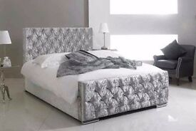 Black, Silver Or Champagne Brand New Crushed Velvet Chesterfield Designer Bed- Single Double King
