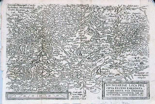 Antique map, Hungariae