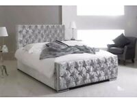 BRAND NEW -- DOUBLE AND KING CRUSHED VELVET CHESTERFIELD BED WITH OR WITHOUT MATTRESS