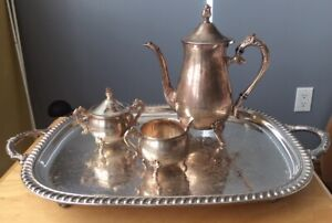 "4-PIECE VINTAGE SILVER PLATED TEA SET WITH 18"" SERVING TRAY"