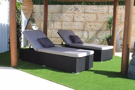 Outdoor Wicker Sunlounge Setting Sun Lounge Settee Sofas Table