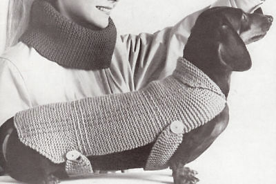 Vintage Knitting PATTERN to make Dog Coat Blanket Sweater Dachshund