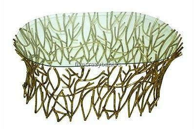 Horchow Elm Glass Top IRON TWIG Coffee Cocktail Table Gold Branch -