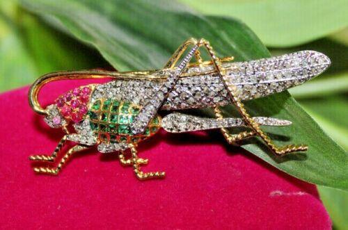 3.90ct Rose Cut Diamond Antique 925 Silver Ruby Emerald Gemstone Brooch Pin