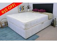 white double divan bed with base and 1000 pocket spring mattress + headboard and storage drawers