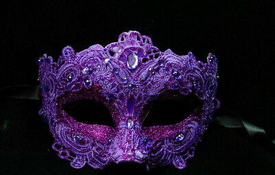 Womens Costume Lace Mardi Gras Masquerade Mask Embellished with Gems [Purple] - Costumes With Masks For Women