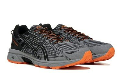Sale  Nib Mens Asics Gel Venture 6  Shoe Shoes Medium 4E Wide Grey Blk Orange