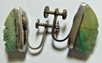 1800s antique handmade sterling silver Mayan deity face gem ear pendants 44206