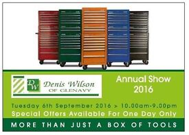Annual tool show one day only sale tuesday 6th September