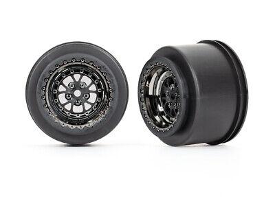 Traxxas 9473X Black Chrome Weld Wheels rear drag slash