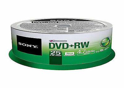 25 pk SONY Blank DVD+RW 4x Logo Branded 4.7GB Rewritable DVD Disc - 25DPW47SP