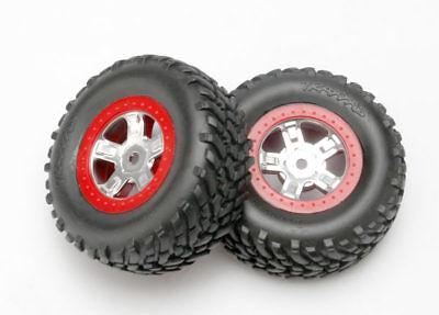 Traxxas 7073A SCT Tires w/ Red Beadlock Chrome Wheels 1/16 Slash 4X4