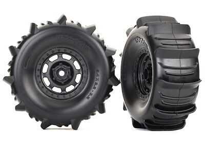 4wd Tires And Wheels - Traxxas 8475 Tires and wheels glued  Paddle tires foam inserts Desert Racer 4WD