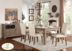 Wooden 7 PC Dining Set with Nailheads (MA334)