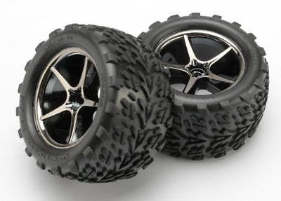 Traxxas 7174A 1/16 E-Revo Mounted Talon Tires on Gemini Black Chrome Wheels