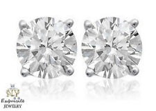 CERTIFIED .90ct ROUND G/SI2 GENUINE DIAMONDS IN 14K GOLD STUDS EARRINGS