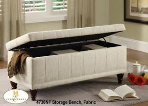 Tufted Lift-top Cream Fabric Storage Bench - MA10 4730NF in Toronto Furniture Sale (BD-1461)