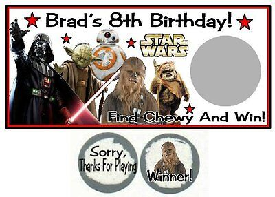 10 Star Wars Birthday Party Scratch Off Game Cards Lottery Tickets - Party Tickets
