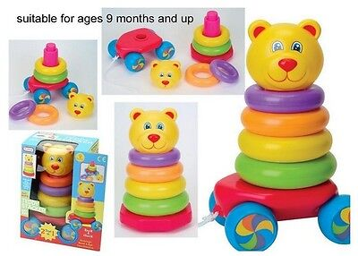 Baby Toy Pull Along Stacking Teddy Bear Roly Poly