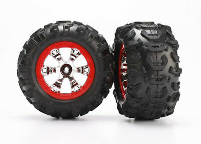 Traxxas 7272 Mounted Red Geode Wheels & Canyon AT Tires (2) Summit