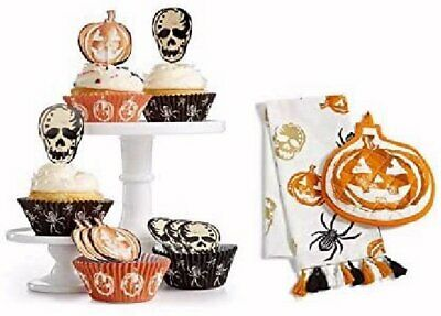 Scary Halloween Cupcake Liners & Toppers + Pumpkin Potholder w/ Kitchen Towel