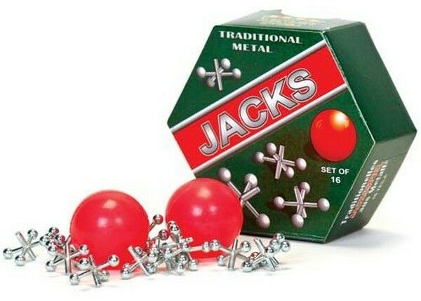 Tobar Toy Metal Jacks Traditional Set of 16 With 2 Balls Boxed NEW
