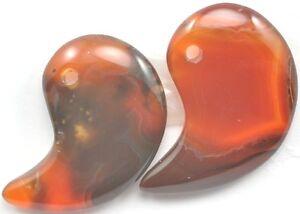1-X-Agata-Gema-Magatama-Colgante-Perla-Focal-Cuentas-25mm-Marron-Naranja