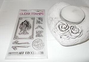 Clear Stamps 9 Stück Decor Stempel Silikon ART DECO Vintage Shabby Motiv NEU OVP