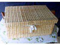 Natural Rectangular Wicker Linen Basket