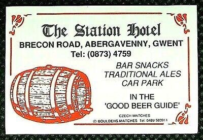 Matchbox label Pub The Station Hotel Brecon Road Abergavenny Gwent Wales MC498