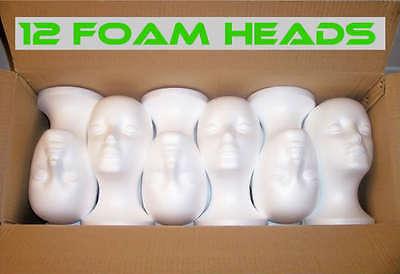 12 FEMALE FOAM STYROFOAM MANNEQUIN HEADS WIG HAT MODEL