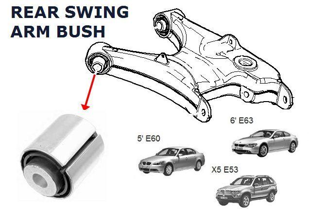 BMW X5 E53 E60 E61 E63 E64 E65 E66 REAR AXLE TRAILING SWINGING ARM FRONT BUSHES