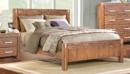 """Matrix"" brushed walnut Queen size bed package - brand new!"