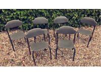 Vintage Set of 6x Easy Stacking 1960s Khaki Children's School Chairs